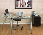 Jameson Clear Tempered Glass and Steel Space Saving L Shaped Workcenter - Silver [50300-FS-SDI]