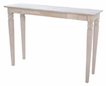 Java Traditional Solid Parawood 52''W X 30''H Console Sofa Table - Unfinished [OT-60S-FS-WHT]