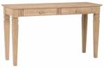 Java Traditional Solid Parawood 52''W X 30''H Sofa Table with Two Drawers - Unfinished [OT-60S2-FS-WHT]