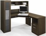 Jazz Reversible Corner Workstation with Adjustable Shelving and Drawers - Tuxedo [90432-78-FS-BS]
