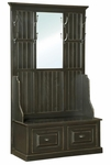 John Rustic Style 22''W x 12.75''D Solid Pine Hall Tree with Mirror - Black [465-014-FS-CHEL]