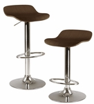 Kallie Airlift Adjustable Stools in Cappuccino-Set of 2 [93489-FS-WWT]