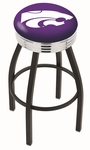 Kansas State University 25'' Black Wrinkle Finish Swivel Backless Counter Height Stool with Ribbed Accent Ring [L8B3C25KNSASS-FS-HOB]