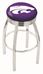 Kansas State University 25'' Chrome Finish Swivel Backless Counter Height Stool with 2.5'' Ribbed Accent Ring [L8C3C25KNSASS-FS-HOB]
