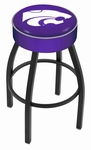 Kansas State University 25'' Black Wrinkle Finish Swivel Backless Counter Height Stool with 4'' Thick Seat [L8B125KNSASS-FS-HOB]