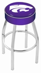 Kansas State University 25'' Chrome Finish Swivel Backless Counter Height Stool with 4'' Thick Seat [L8C125KNSASS-FS-HOB]