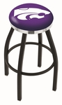 Kansas State University 25'' Black Wrinkle Finish Swivel Backless Counter Height Stool with Chrome Accent Ring [L8B2C25KNSASS-FS-HOB]