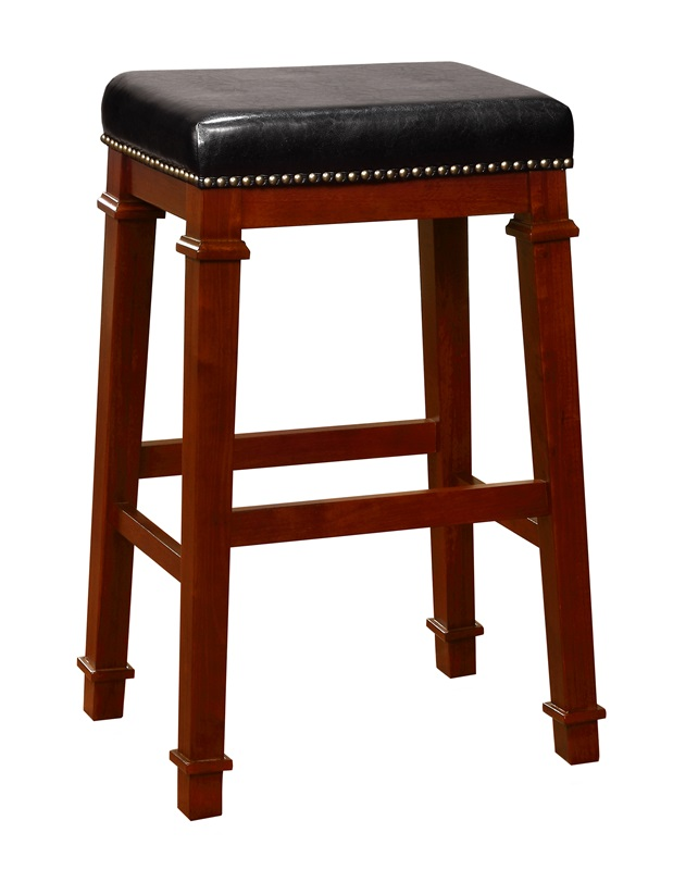 Kennedy 30 39 39 h bar stool with black faux leather and bronze nailhead trim dark cherry - Leather bar stools with nailhead trim ...