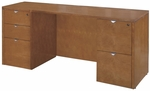 OSP Furniture Kenwood Hardwood Veneer Double Pedestal Kneespace Credenza with Curved Metal Drawer Pulls [KENTYP6-FS-OS]