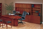OSP Furniture Kenwood Hardwood Veneer Executive U Suite with P-Top Deks with Curved Metal Drawer Pulls [KENTYP17R-FS-OS]