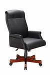 Keswick Roll Arm Executive Desk Chair in Black Leather - English Cherry [6940-1105-FS-DMI]