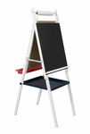 Kid's Multi Purpose Two Sided Storage Easel with Dry Erase and Chalkboard- Natural [13212-FS-SDI]