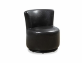 Juvenile Faux Leather Swivel Accent Chair - Dark Brown