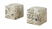 Juvenile Tufted Fabric Ottoman - Off White and Black - Set of 2