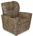 Kids Upholstered Theater Recliner with Cup Holder - Cheetah [DZD10886-FS-DD]