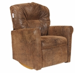 Kids Micro-Suede Contemporary Rocker Recliner with Tufted Back - Brown Bomber [DZD10583-FS-DD]