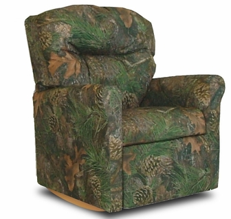 kids true timber fabric rocker recliner with tufted back camo green