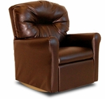Kids Faux Leather Contemporary Rocker Recliner with Tufted Back - Pecan Brown [DZD11531-FS-DD]