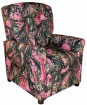 Kids 4 Button Tufted Back True Timber Fabric Recliner - Camo Pink [DZD11822-FS-DD]