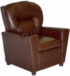 Kids Faux Leather Theater Recliner with Cup Holder - Pecan Brown [DZD11534-FS-DD]