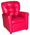 Kids Recliner with Button Tufted Back - Red Vinyl [400-VINYL-RED-FS-BZ]