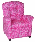 Kids Recliner with Button Tufted Back - Small Paisley Pink [400-SMALL-PAISLEY-PINK-FS-BZ]