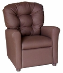 Kids Recliner with Button Tufted Back - Solid Brown Cotton [400-SOLID-BROWN-COTTON-FS-BZ]
