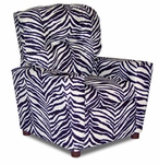 Kids Upholstered Theater Recliner with Cup Holder - Zebra [DZD12056-FS-DD]