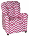 Kids Recliner with Button Tufted Back - Zig Zag Pink