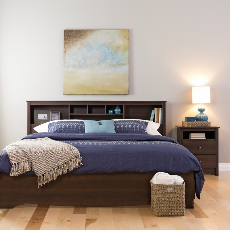 King Size Bookcase Headboard With 6 Storage Compartments
