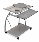 L Compact Mobile Cart with Clear Tempered Glass Work Surface - Silver [50101-FS-SDI]