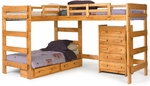 Rustic Style Solid Pine L Shaped Loft Bed with Storage - Honey [3662008-S-FS-CHEL]