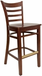 Ladder Back Barstool with Wood Seat in Mahogany Finish [8241B-M-M-HND]