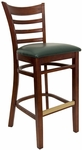 Ladder Back Barstool with Mahogany Finish and Gr 2 Green Vinyl Seat [8241B-M-IND8571-HND]