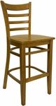 Ladder Back Barstool with Wood Seat in Wild Cherry Finish [8241B-WC-WC-HND]