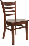 Ladder Back Chair with Wood Seat in Mahogany Finish [8241-M-M-HND]