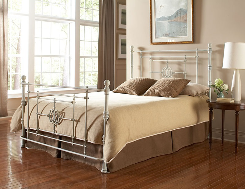 lafayette shabby chic four poster distressed finish metal bed frame queen white b11145 by fashion bed group bizchaircom - White Iron Bed Frame Queen