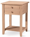Classic Solid Parawood 18''W X 26''H Lamp Table with 2 Drawers and Storage Shelf - Unfinished [OT-92-FS-WHT]