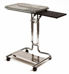 Clear Tempered Glass and Steel Height Adjustable Laptop Cart with Mouse Pad - Chrome [51201-FS-SDI]