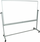 Doubled Sided Aluminum Frame Magnetic Mobile Whiteboard with Marker Tray - 74.5''W x 23''D x 69''H [MB7240WW-FS-LUX]
