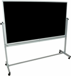 Doubled Sided Aluminum Frame Whiteboard/Chalkboard with Marker Tray - 74.5''W x 23''D x 69''H [MB7240-FS-LUX]