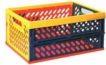 Brightly Colored Large Stackable Vented Collapsible Crates with Built-in Handles [ELR-0170-ECR]