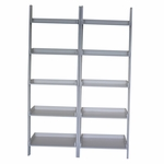 Solid Wood Lean To Shelf Unit with 5 Shelves - Set of 2 - White [K-SH69-2660-2-FS-WHT]
