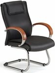 Apex Leather Executive Mid-Back Guest Chair with Cherry Finish - Black [565-L-CHERRY-FS-MFO]