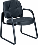 Leather Guest and Reception Chair - Black [503-L-FS-MFO]