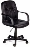 Leather Mid-Back Chair - Black [60-5607M-FS-COM]