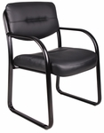 LeatherPlus Sled Base Side Chair with Arms - Black [B9529-FS-BOSS]