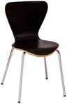 Leo Stackable Side Chair - Black Laminate Seat and Chrome Frame [JA602CH-BL-BFMS]
