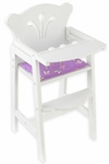 Lil' Doll Wooden High Chair with Reversible Pad for up to 19''H Dolls - White [61101-FS-KK]