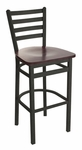 Lima Metal Ladder Back Barstool - Black Wood Seat [2160BBLW-SB-BFMS]